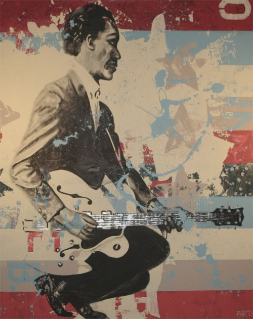 """Johnny B. Goode. American Music Series 3 of 3. Mixed Media. 48""""x60""""."""